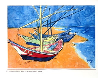 Van Gogh - Sailing Boats on the Beach at Les Saintes Maries - 1941 Vintage Book Plate - Masterpiece Reproduction - 14 x 10