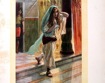 1904 Antique Print - James Tissot Chromolithograph Book Plate -  Desolation of Tamar