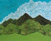 "Ecuadorian Landscape, 4 color reductive relief print, printmaking, linocut, 18 x 24"""