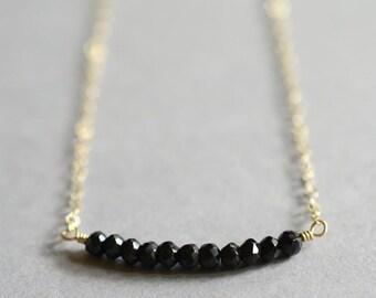 Black spinel necklace, tiny black bead necklace, black stone necklace, tiny beaded necklace, eleven stone, Kalawa Midnight