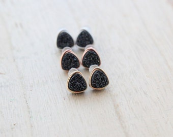 Druzy Stud Earrings, Black Triangle Geometric Minimalist Wire Wrapped Post, Sterling Silver Gold or Rose Gold - Eclipse