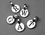 Add on Initial charm, personalized letter charm, antiqued silver plated charm, personalized monogram