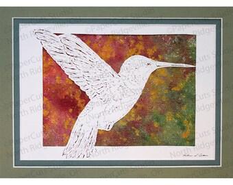 Hummingbird Papercutting, Handcut Original, Watercolor Background