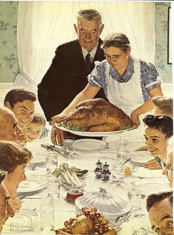 Norman Rockwell prints,  four freedoms; Freedom From Want, Freedom to Worship World War II