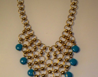 Turquoise Blue Necklace, Vintage Alfani Turquoise & Gold Necklace,  Blue Bead and Gold Chain Necklace,  Vintage Blue and Gold Bib Necklace