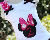 Girl Minnie Mouse Silhouette Embroidered LONG SLEEVE VERSION of Tank top Choice of Red, Hot Pink or Pink Bow with Rhinestones