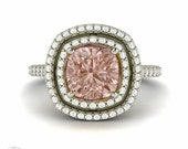 Morganite Engagement Ring Cushion Double Halo Morganite Ring Diamond Halo 14K or 18 Gold