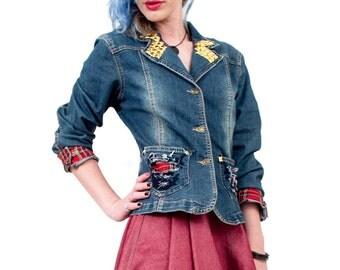 Punk Princess tailored studded denim jacket | punk jacket | punk studded jacket