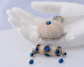 Beach Bridal Necklace - Sea Urchin Necklace in ivory and blue - Ocean Inspired Statement Necklace