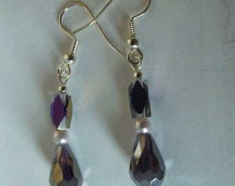 Handmade Beaded Pierced Earrings, AB Teardrop Crystals, Silver, Glass, Violet Purple Pearl