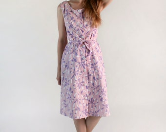 Vintage Bow Dress - Lavender and Cotton Candy Pink Novelty Print Day Dress - Medium