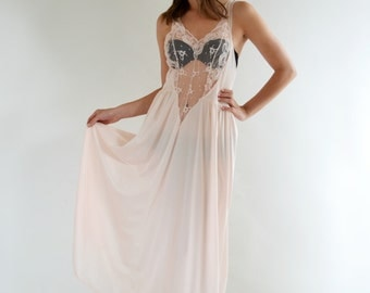 Sheer Lace Vintage 80s Kasara Pink Chiffon M L Negligee Nightgown