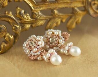 "Rose Gold Earring Stud | Pearl Bridal Drop Earrings | Floral Flower Lace Wedding Jewelry | ""Thalie"""