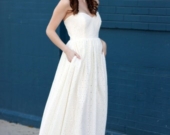 Ivory Flower Eyelet Wedding Gown with pockets, made to order