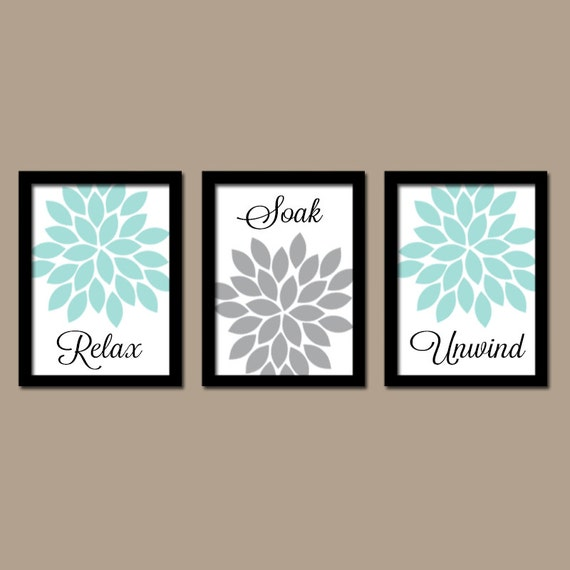 Bathroom Decor Artwork : Bathroom decor aqua gray wall art canvas or prints