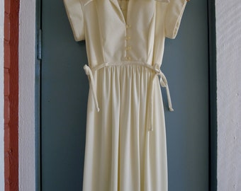vintage 60s 70s cream boho collar midi dress xs/s