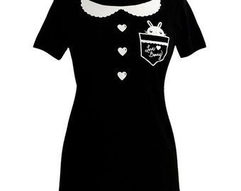 Womens Collar T-Shirt - Bunny Rabbit Pocket Tee Shirt - (Available in Ladies sizes S, M, L, XL)