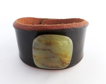 Brown Leather Cuff Bracelet with Large Jade Stone Bead, Leather Jewelry, Leather Accessories