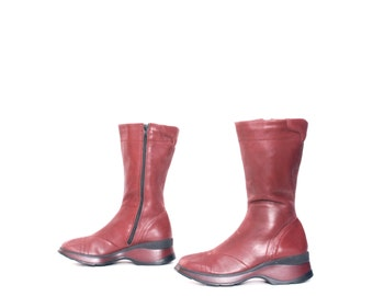 size 9 PLATFORM red leather 80s 90s CHUNKY WEDGE zip up tall ankle boots