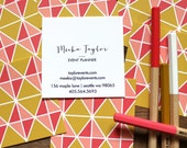 calling cards / business cards / mom cards mod triangles corals / gold - set (50)
