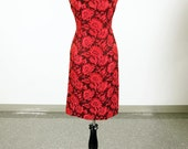 Vintage 50's / 60's Sandra Sage hot pink and black floral wiggle dress and jacket set - size M