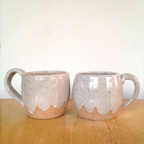 Pair of light gray cloud ceramic mugs wheel thrown by thelulubird - Handleless coffee mugs ...