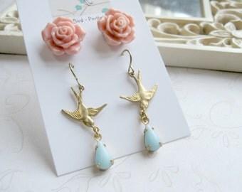 Bird dangle earrings, rose earring set, pink rose earrings, baby blue teardrop earrings, vintage style dangle earrings
