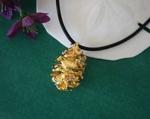 Gold Pinecone Necklace, Gold, Real PineCones, Gold Pine Cones, Redwood, PC43