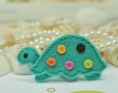 Set of 6pcs handmade felt turtle--tro. turquoise (FT763)