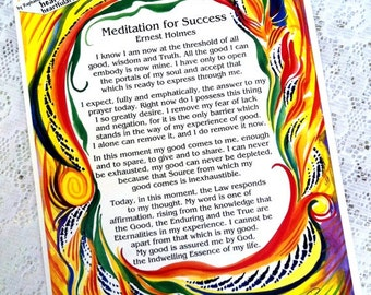 Meditation For Success ERNEST HOLMES Inspirational Quote Motivational Print Law of Attraction Meditation Heartful Art by Raphaella Vaisseau