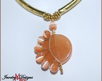 Crescent Moon Necklace in Red Aventurine Orange Cats Eye Genuine Gemstones