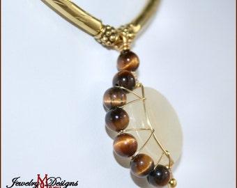 Crescent Moon Necklace in Pineapple Jasper and Tigers Eye Genuine Gemstones