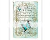 Butterfly print, typography print, butterfly, aqua blue, papillon, collage, French, painting quote, gold crown, script, collage, giclee