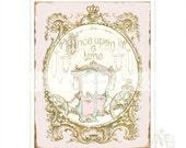 "Once upon a time, print, fairy tale, princess, carriage, pink, gold, nursery decor, baby girl, nursery print, A4, 8"" x 10"""