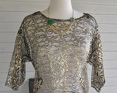 Gold and Black Lace Lame Crop Top 80's