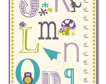 Children's Growth Chart - Nursery Art - ABC's Alphabet Growth Chart