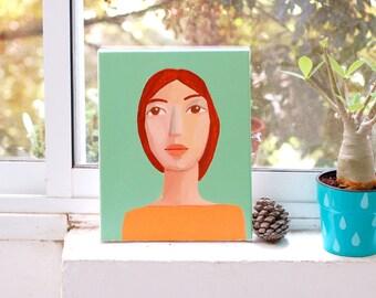 woman portrait  original acrylic painting on canvas