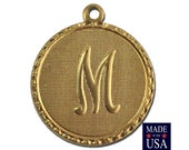 Raw Brass Letter M Initial Charm Drop with Loop (1) chr190M