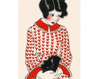 "Cat art -  Betty and her black Kitten 4"" X 6"" print - 4 for 3 SALE"