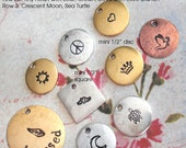 """NEW ALL Symbol Stamps - mini 1/2"""" disc - Lots of options Customize your keychain Monograms, Couples, Initials. Silver, copper, gold metals"""
