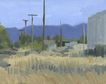 Railroad Tracks, near Medford, OR: Original Framed Oil Painting Plein Air Landscape