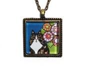 Tortoiseshell Cat Pendant/ Tortie Longhair Kitty Jewelry by Susan Faye