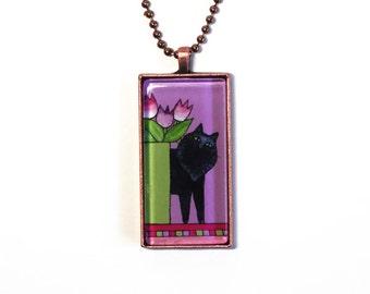Black Cat Art Jewelry SALE/ Glass Pendant in Copper Setting by Susan Faye