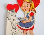 Vintage Valentine Card • Girl with Pony Horse Jointed Litho • Mid Century Card