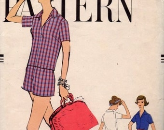 Vintage Vogue 9480 Very Easy Shirt and Shorts Sewing Pattern Size 12 Bust 32