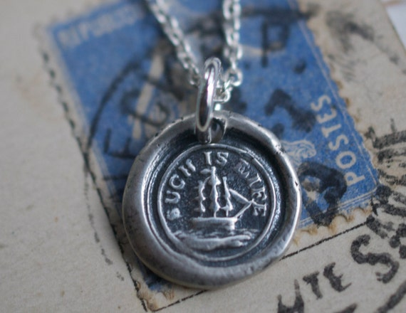 ship and compass wax seal necklace - such is life - reversible sterling silver nautical Victorian trinket wax seal jewelry