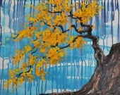 Yellow Bonsai Tree Original Painting