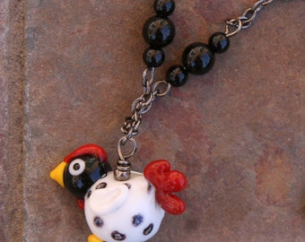 Folk Art Chicken Handmade Lampwork DeSIGNeR Necklace Pendant Trendy Black Gunmetal