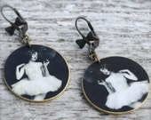 Silly Girl Ballerina Earring - Ballerina Earring - Ballerina Jewelry - Vintage Photograph - Black and White Image - Shrink Plastic - Photo