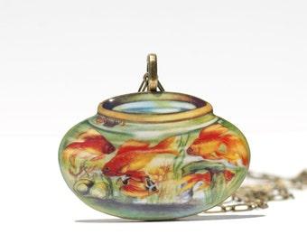 Goldfish Bowl Resin Pendant - Goldfish Jewelry - Fish Jewelry - Goldfish - Goldfish Pendant - Goldfish Necklace - Fish Pendant - Dainty